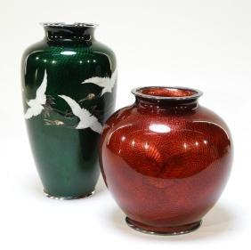 2 Japanese Cloisonne & Ginbari Bamboo Crane Vases