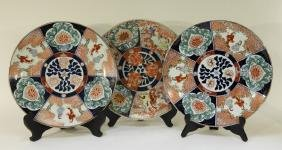 3 Japanese Imari Porcelain Floral Chargers