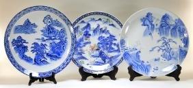 3 Japanese Porcelain Blue & White & Imari Chargers