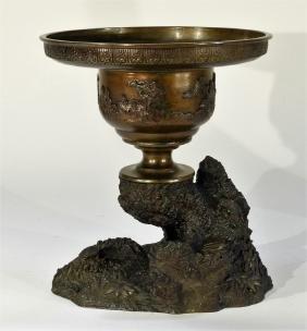 Japanese Meiji Period Bronze Censer with Turtles