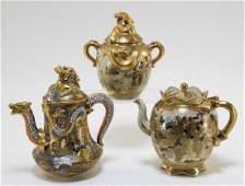 2 Japanese Satsuma Moriage Porcelain Teapots  Jar