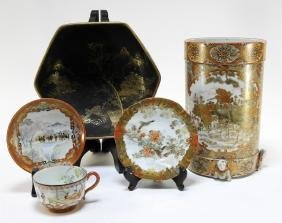 5 Japanese Kutani and Satsuma Porcelain Articles