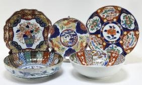 5 Japanese Imari Porcelain Bowl & Plate Articles