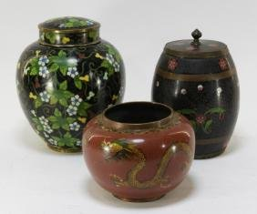 3 Japanese Cloisonne Enamel Jars & Dragon Bowl