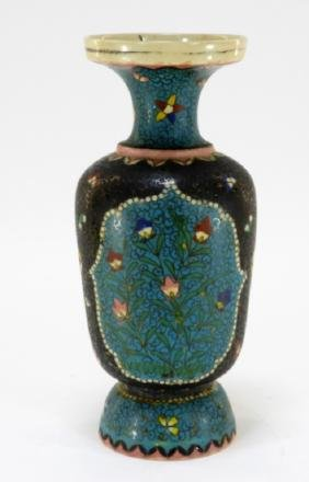 Japanese Clobbered Cloisonne Pottery Vase