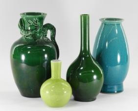 4 Japanese Porcelain Crackle Glaze Dragon Vases