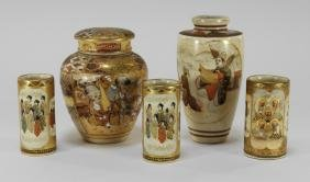 5 Japanese Satsuma Porcelain Miniature Articles