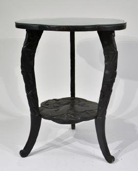 Japanese Meiji Period Black Lacquer Wood Table