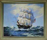 George Maclean Seascape Painting of USS Hancock
