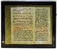 PR German Musical Illuminated Vellum Manuscripts