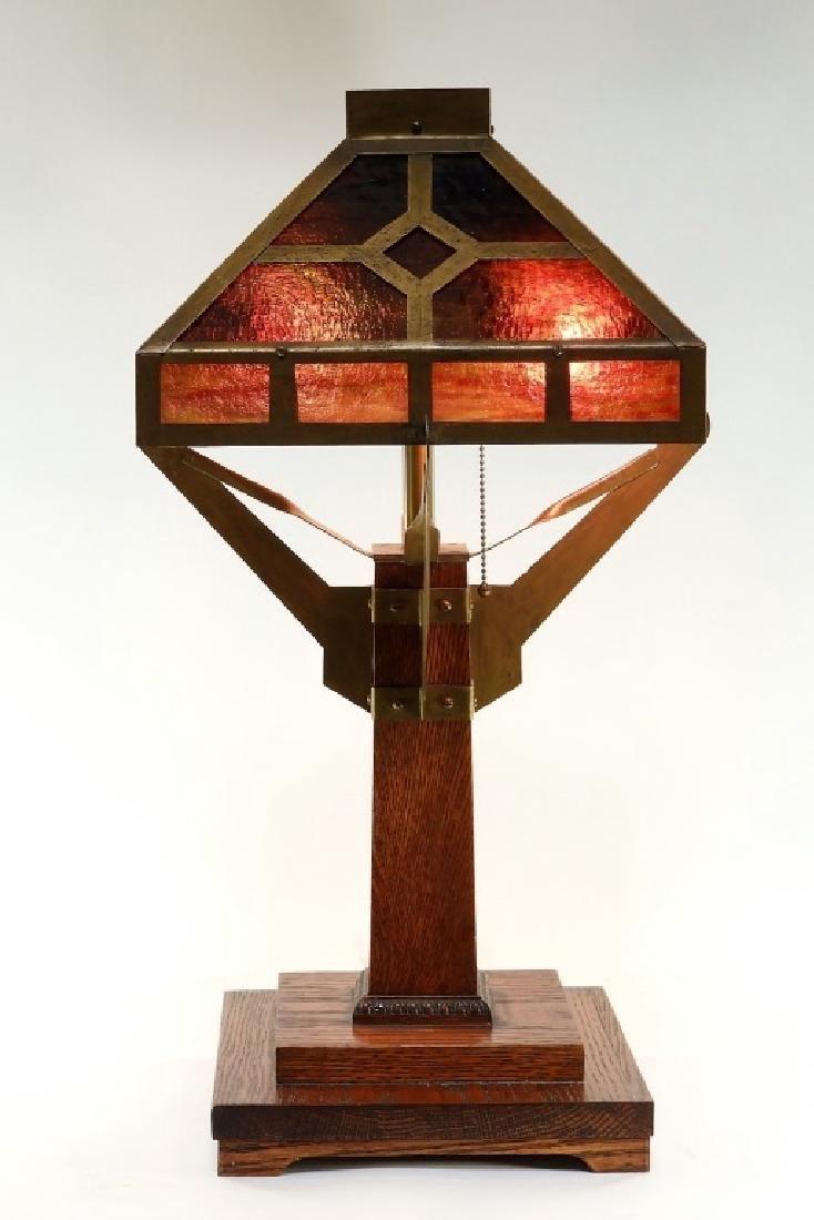 American Arts & Crafts Mission Oak Slag Glass Lamp