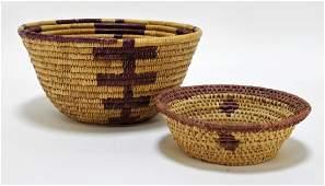 2 African Tribal Geometric Woven Baskets