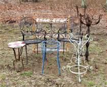 9 Misc. Vintage Wrought Iron Garden Items