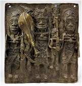 African Bronze Relief Tribal Plaque