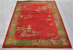 Chinese Art Deco Pictorial Room Size Carpet Rug