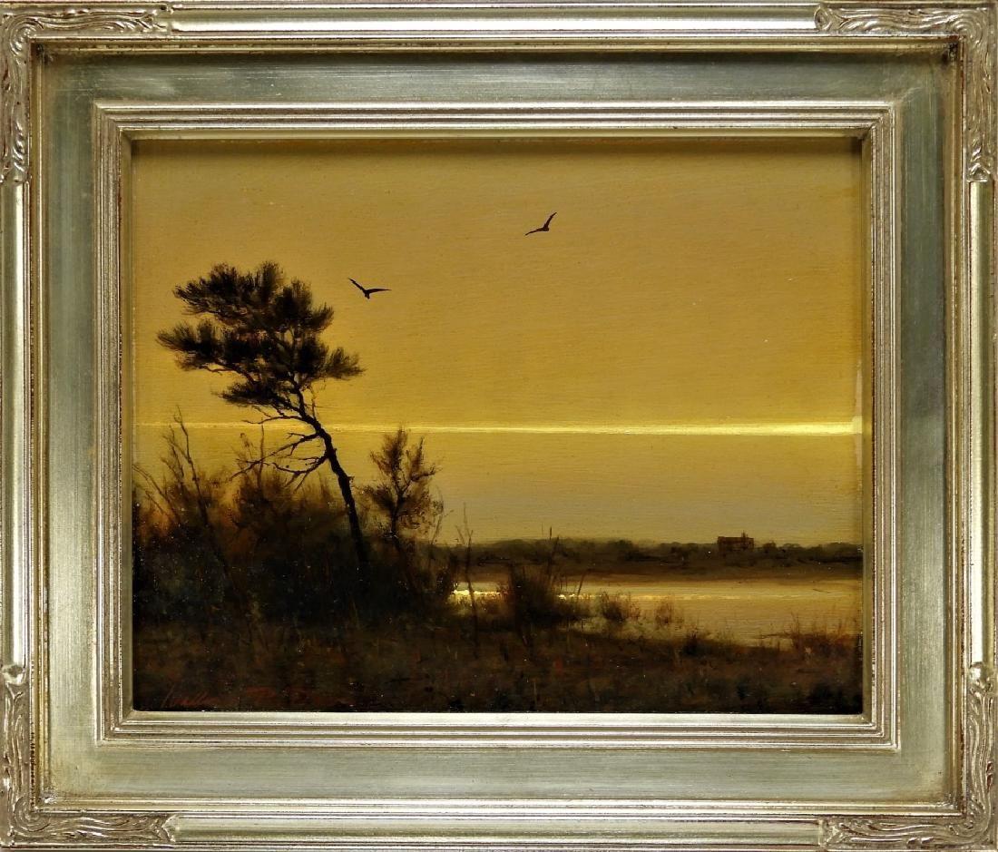 William R. Davis Luminist Twilight Marsh Painting