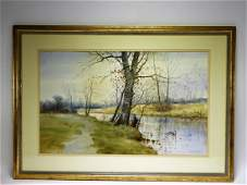 Samuel R Chaffee New England Landscape WC Painting