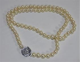 14k White Gold Diamond Set 9mm Pearl Necklace