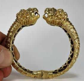 18kt Gold & Green Enamel Lion Head Bracelet
