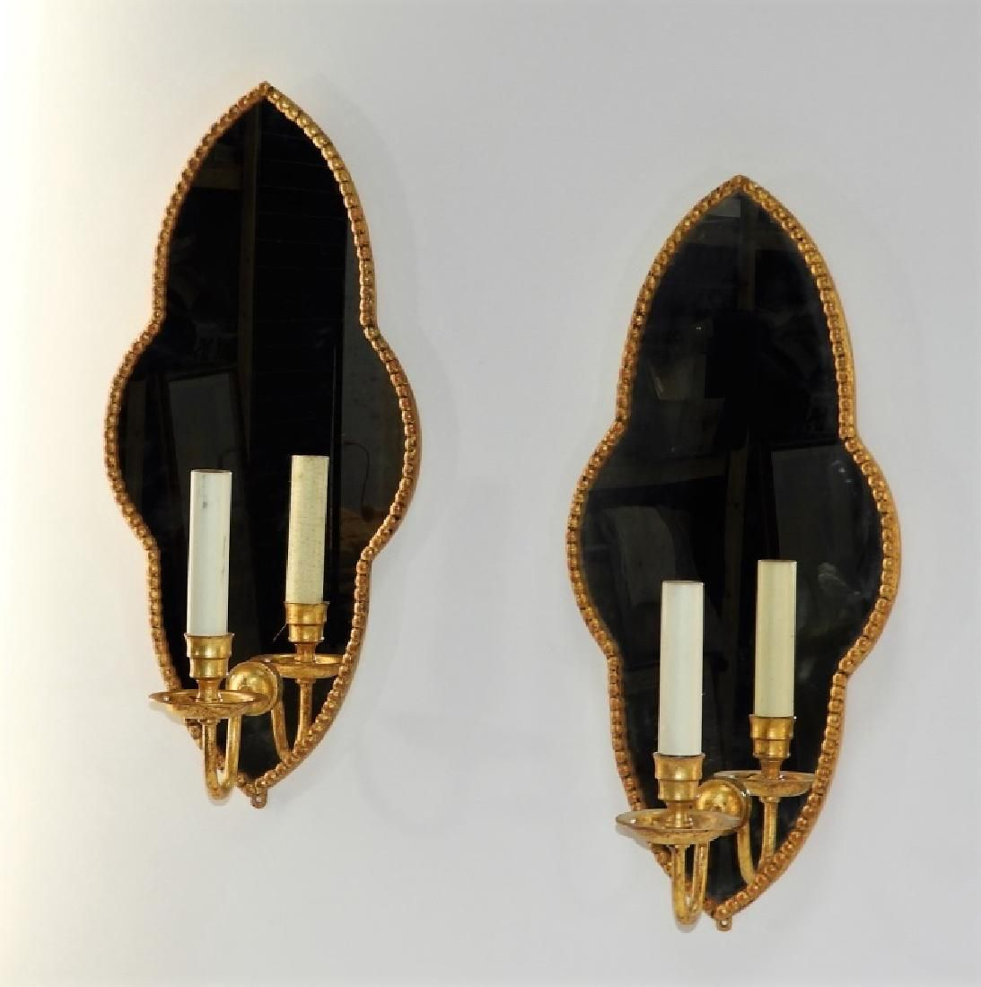 PR Italian Carved Wood & Gilt Tole Wall Sconces