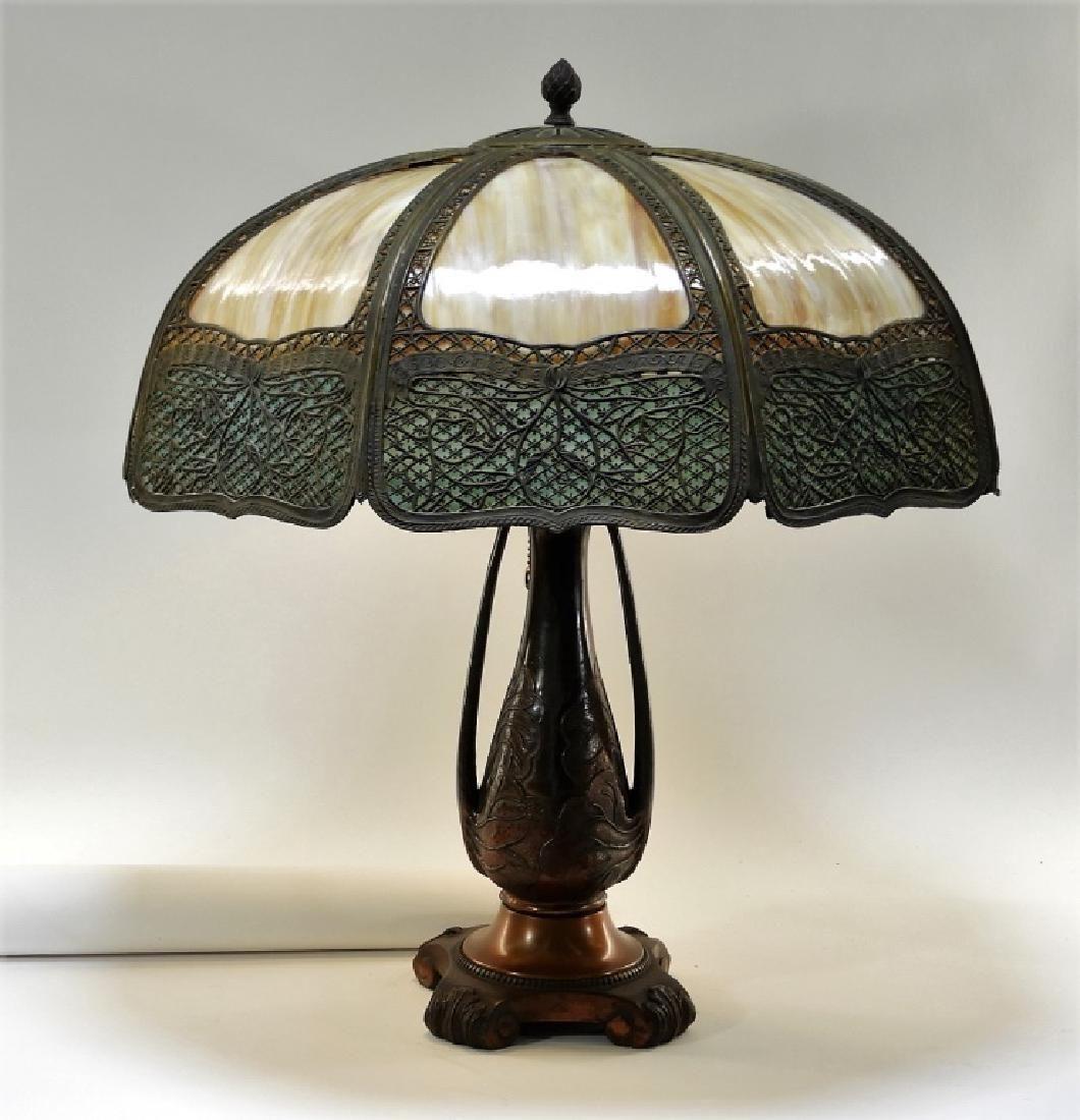 American Art Nouveau Blue Caramel Slag Glass Lamp