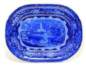 19c. English Staffordshire Scenic Oriental Platter