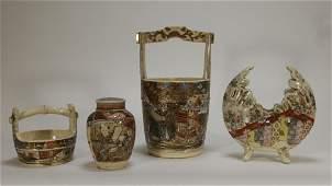 4 Japanese Satsuma Porcelain Vase Jar Grouping