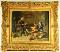European OB Interior Genre Scene Painting