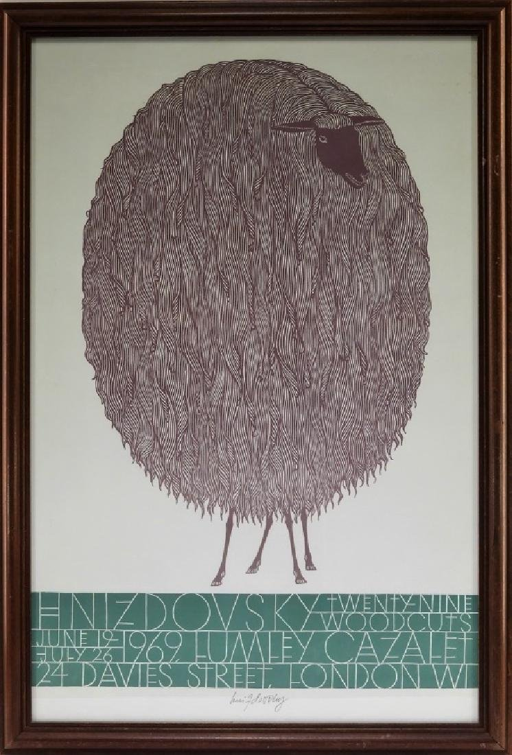 Jacques Hnizdovsky Signed Sheep Exhibition Poster