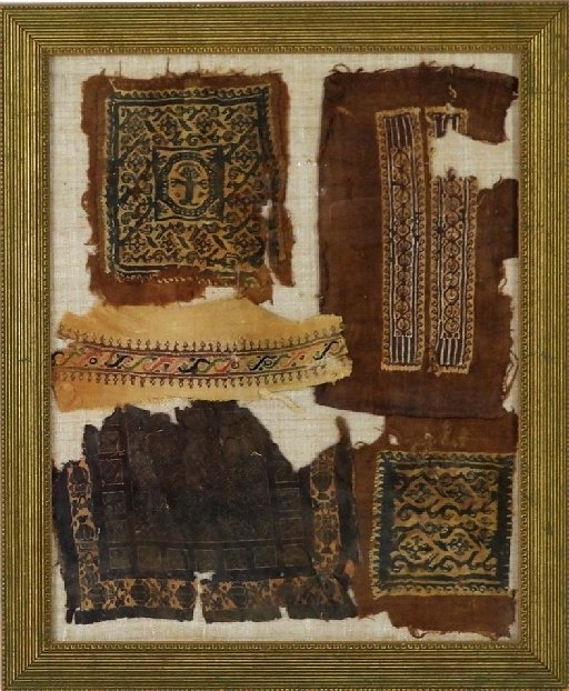 5 Ancient Egyptian Coptic Textile Fragments