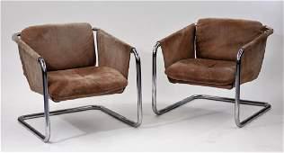 PR MCM Brown Suede Tubular Chrome Sling Chairs