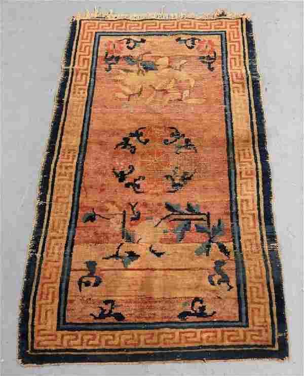 Antique Chinese Art Deco Floral Carpet