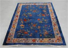 20C Chinese Art Deco Blue Ground Floral Carpet Rug