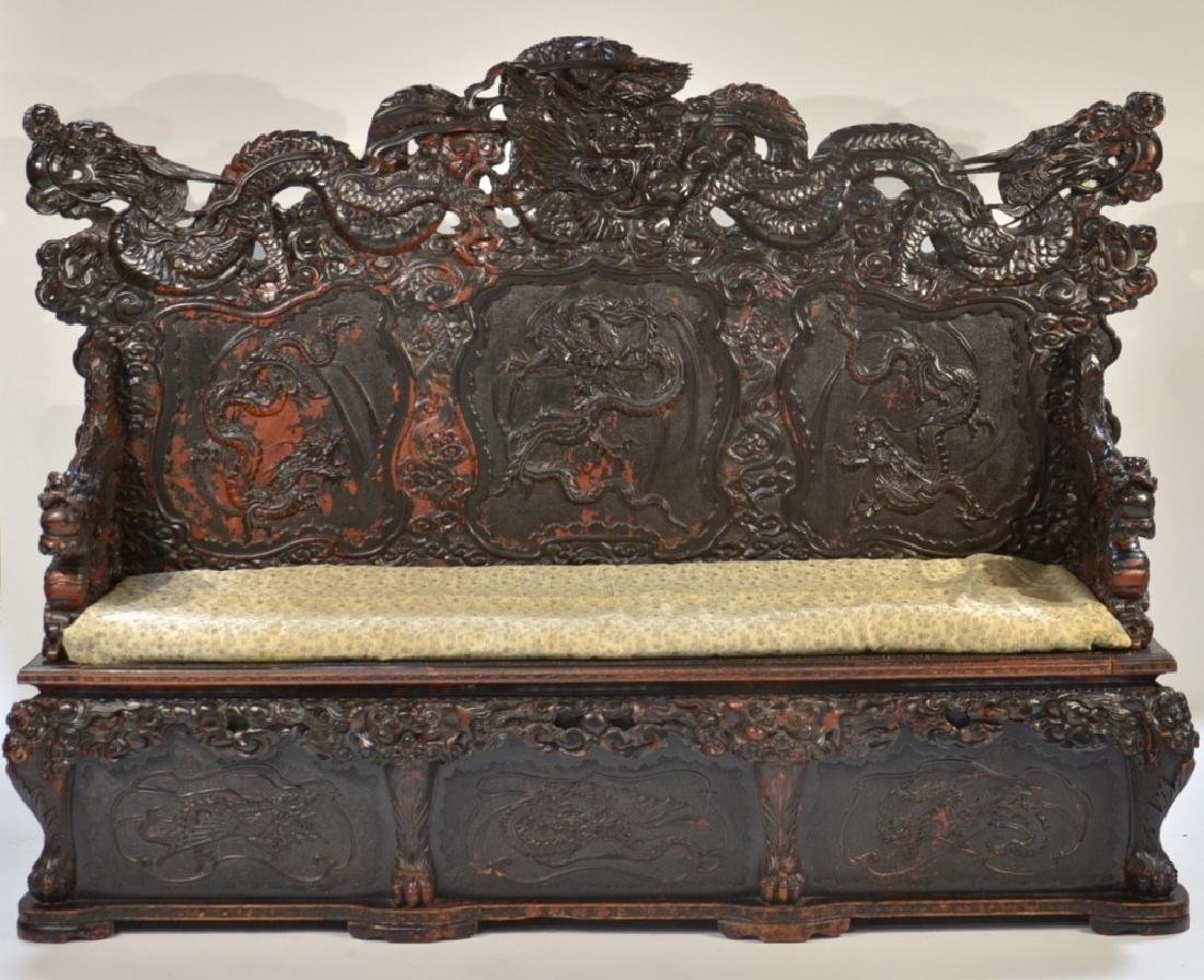 LG Japanese Wood Red Black Lacquer Dragon Bench - 2