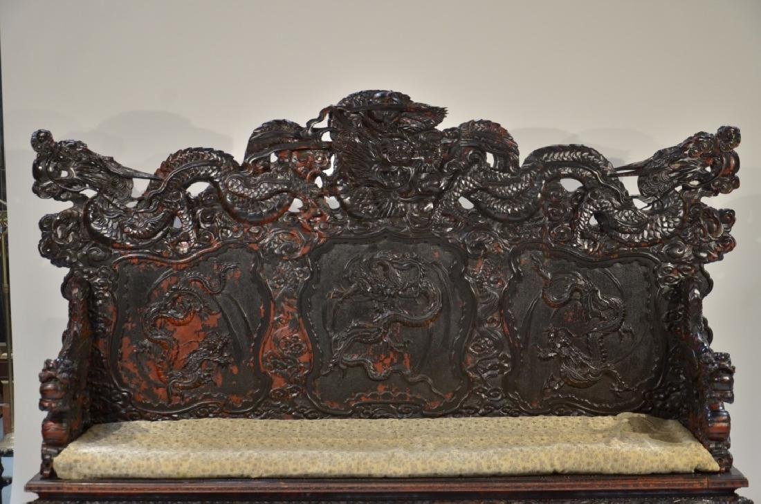 LG Japanese Wood Red Black Lacquer Dragon Bench - 3
