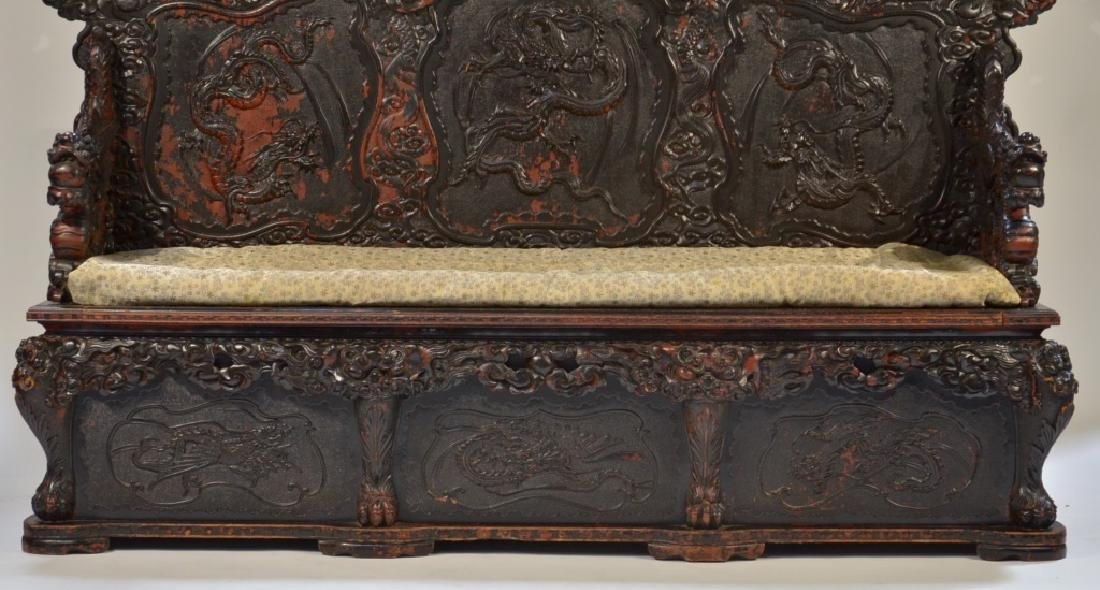 LG Japanese Wood Red Black Lacquer Dragon Bench - 4