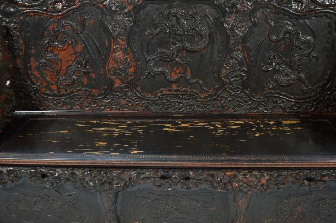 LG Japanese Wood Red Black Lacquer Dragon Bench - 5