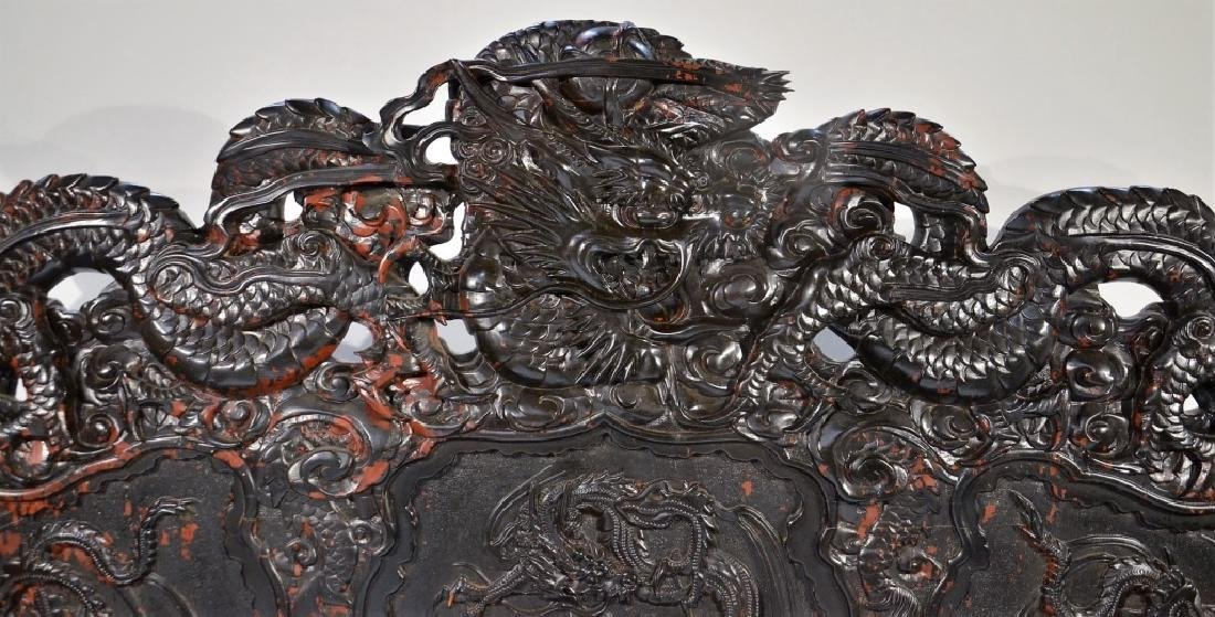 LG Japanese Wood Red Black Lacquer Dragon Bench - 6