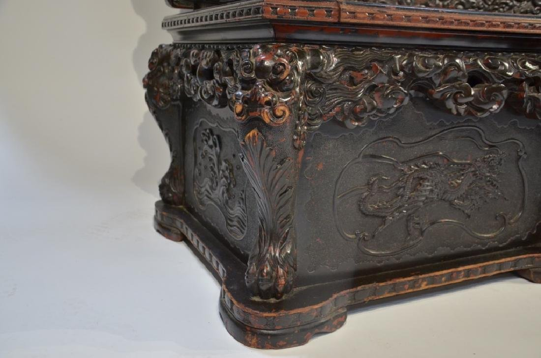 LG Japanese Wood Red Black Lacquer Dragon Bench - 9
