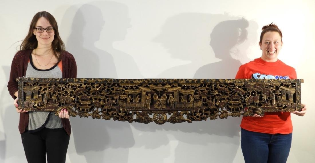 19C. Chinese Carved Wood Gilt Architectural Panel