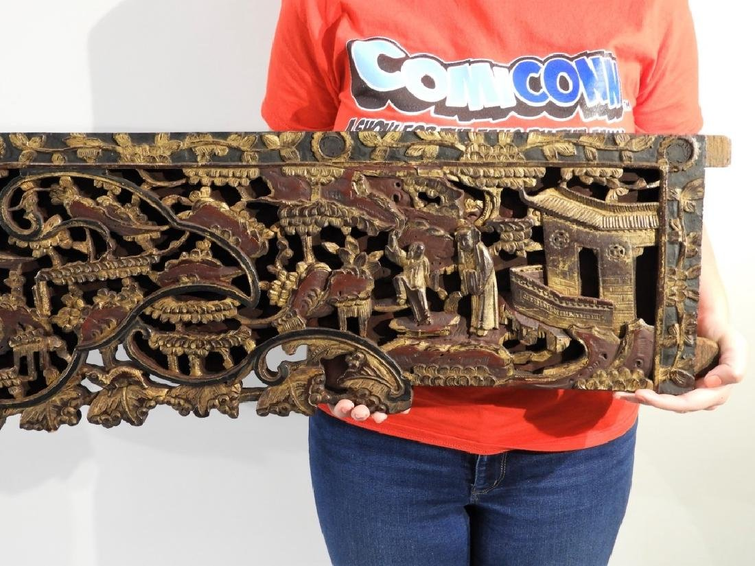 19C. Chinese Carved Wood Gilt Architectural Panel - 4