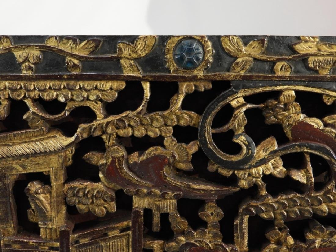 19C. Chinese Carved Wood Gilt Architectural Panel - 5