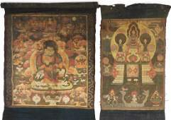 2 19C Sino Tibetan Thangka Textile Buddha Painting