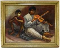 Manuel Herrera Cartalla Muralist Fiddler Painting