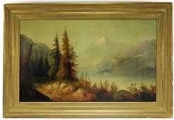 LG Hudson River Primitive O/C Landscape Painting