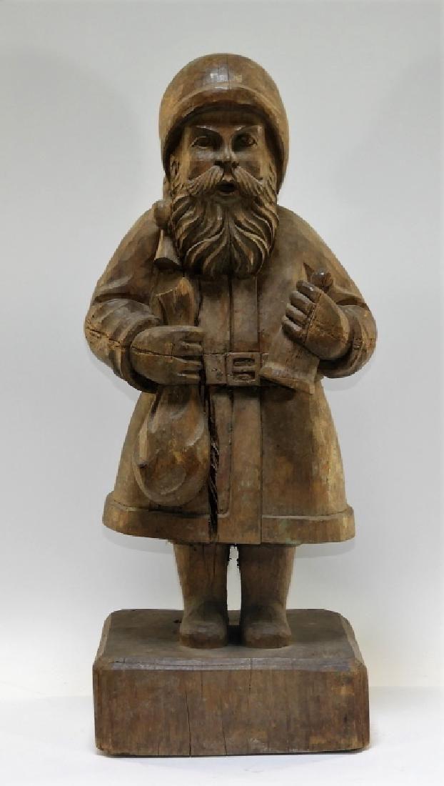 19C. Folk Art Primitive Carved Wood St. Nicholas