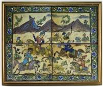 18C Persian Pictorial Hunting Glazed Pottery Tile