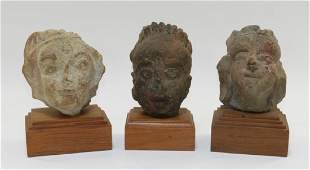 3 Indian Carved Red Sandstone Head Fragments