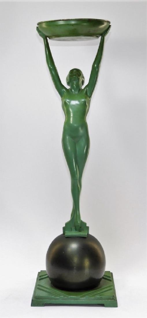 Frankart Art Deco Metal Nude Female Smoking Stand