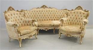 3PC French Louis XV Gilt White Wood Parlor Set